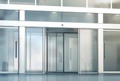 Pusty ślizgowego szkła drzwi wejścia mockup obrazy royalty free