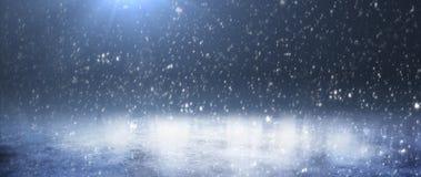 Pusty śnieżny lodowisko Śnieżna zima Tło panorama obraz royalty free