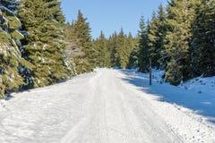 Pusty śnieg zakrywał drogę w zima krajobrazie w Gigantycznych górach Fotografia Stock