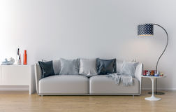 Pusty żywy pokój z biel ścianą w tle Zdjęcie Stock