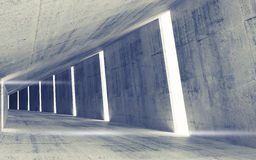 Pusty abstrakta betonu tunelu wnętrze Zdjęcia Royalty Free
