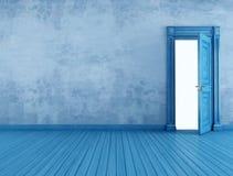 Pusty błękitny rocznika pokój ilustracja wektor