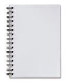 Pusty biały ślimakowaty notatnik odizolowywający na bielu Zdjęcia Royalty Free