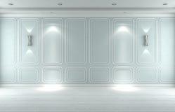Pusty biały błękitny pracowniany wewnętrzny klasyk, 3D odpłaca się 3D illustrat obraz stock
