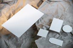 Pusty biały biznesowy materiały w górę, szablon dla oznakować tożsamość fotografia stock
