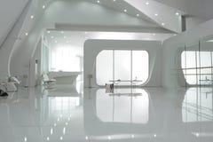 Pusty biały loft sprawności fizycznej studio Zdjęcia Stock