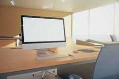 Pusty biały monitor Obrazy Stock