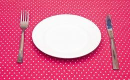 Pusty biały obiadowy talerz Zdjęcie Royalty Free