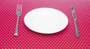 Pusty biały obiadowy talerz Obrazy Royalty Free