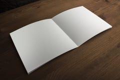 Pusty biały papier dla notatek, notatnik, dzienniczek, broszura, organizator na drewnianym stole Reklamujący, materiały, edukacja Zdjęcia Stock