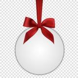 Pusty biały prezent karty szablon z czerwonym łękiem Zdjęcie Stock