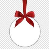 Pusty biały prezent karty szablon z czerwonym łękiem Obrazy Stock