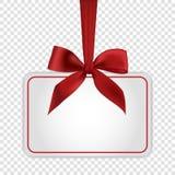Pusty biały prezent karty szablon z czerwonym łękiem Zdjęcie Royalty Free