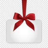 Pusty biały prezent karty szablon z czerwonym łękiem Obrazy Royalty Free
