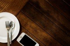 Pusty biały obiadowy naczynie z setem Zdjęcie Royalty Free