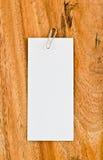 Pusty biały papier na drewnianym tle Obraz Stock