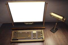Pusty bielu ekran rocznika steampunk maszyna do pisania z starym stylem royalty ilustracja