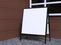 Pusty bielu A plenerowej reklamy stojaka mockup ramowy kruszcowy set, 3d rendering, odizolowywający, Jasny uliczny signage deski  Royalty Ilustracja