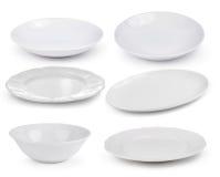 Pusty bielu talerz na białym tle Zdjęcia Royalty Free