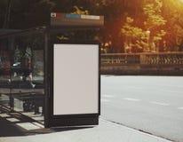 Pusty billboard na miasto autobusowej przerwie Obraz Stock