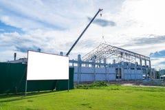 Pusty billboard przy budową Obraz Royalty Free