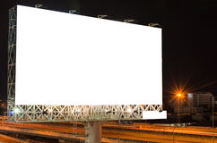 Pusty billboard przy mrocznym czasem dla reklamy Obrazy Stock
