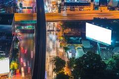 Pusty billboard przy mrocznym czasem dla reklamy Obraz Royalty Free