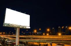 Pusty billboard przy nocą dla reklamy Zdjęcie Royalty Free
