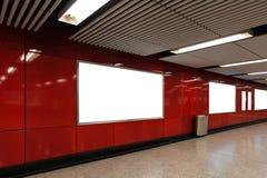 Pusty billboard w metro staci metru Obraz Stock