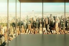 Pusty biuro z widokiem miasto zdjęcie stock
