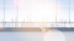 Pusty Biurowy Izbowy Pracowniany Buduje Real Estate Wewnętrzny okno Z Nowożytną miasto krajobrazu kopii przestrzenią Obrazy Royalty Free