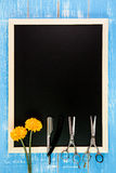 Pusty blackboard i nożyce fryzjera set Fotografia Royalty Free
