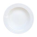 Pusty ceramiczny półkowy odgórny widok odizolowywający na białym tle, clipp obraz royalty free