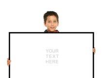 pusty chłopiec trzymający znak Obraz Stock