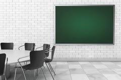 Pusty Chalkboard, stół i krzesła w pokoju konferencyjnym, świadczenia 3 d ilustracji