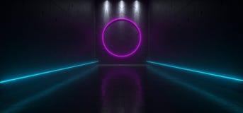Pusty Ciemny Futurystyczny Sci Fi Hall Duży pokój Z światłami I Circl Ilustracji