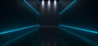 Pusty Ciemny Futurystyczny Sci Fi Hall Duży pokój Z światłami I Refel Royalty Ilustracja