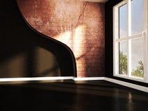 Pusty ciemny pokój z wielkim okno ilustracja wektor