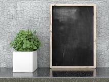 Pusty czarny chalkboard, 3D odpłaca się Fotografia Royalty Free