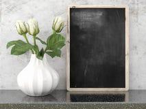 Pusty czarny chalkboard, 3D odpłaca się Fotografia Stock