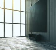 Pusty czarny duży obrazek z rzemienną kanapą i dużym okno w trybie royalty ilustracja