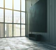 Pusty czarny duży obrazek nad skóry kanapa w pustych loft pokoju wi Fotografia Royalty Free