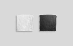 Pusty czarny i biały fałdowy miękki plażowego ręcznika mockup Zdjęcie Stock
