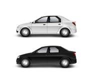 Pusty czarny i biały samochodowy projekta mockup, odizolowywający, boczny widok, Obrazy Stock