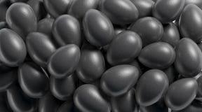 Pusty czarny jajeczny sterta egzamin próbny w górę, głębia pole, zdjęcie royalty free