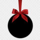 Pusty czarny prezent karty szablon z czerwonym łękiem Obrazy Stock