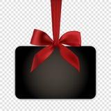 Pusty czarny prezent karty szablon z czerwonym łękiem Zdjęcia Stock