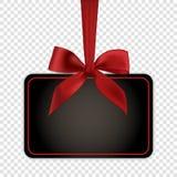 Pusty czarny prezent karty szablon z czerwonym łękiem Obraz Stock