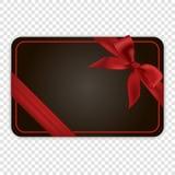 Pusty czarny prezent karty szablon z czerwonym łękiem Zdjęcie Royalty Free