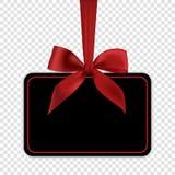 Pusty czarny prezent karty szablon z czerwonym łękiem Fotografia Stock